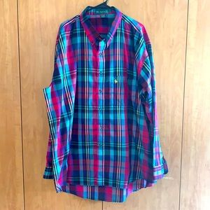 Knights of Round Table 3X plaid button down shirt